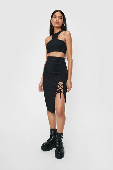 Black Recycled Lace Up Tie Front Midi Skirt