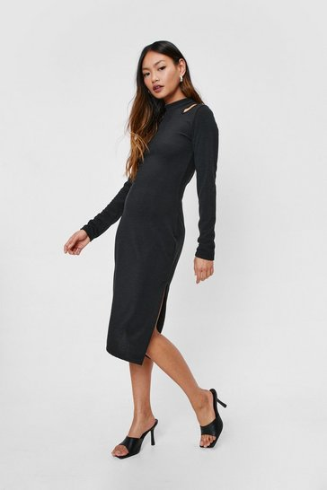 Black Petite Recycled Cut Out Mini Dress