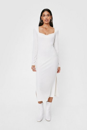 Off white Recycled Sweetheart Neck Midi Dress