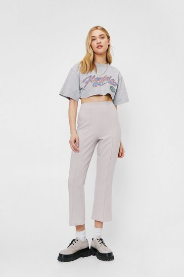 Stone High Waisted Pintuck Cropped Flare Pants