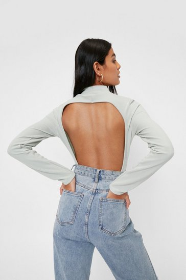 Sage Recycled Open Back High Leg Bodysuit