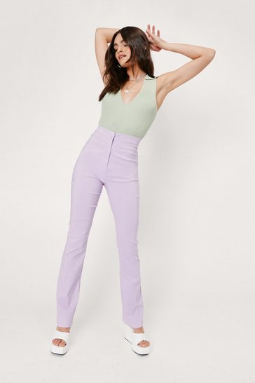 Lilac High Waisted Tailored Flare Pants