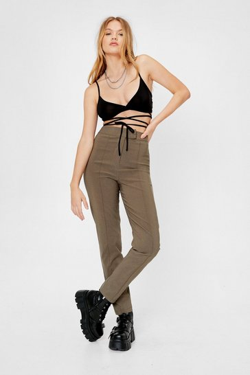 Khaki High Waisted Pintuck Stretch Skinny Pants