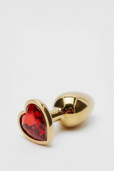 Gold Jewelled Heart Shaped Butt Plug