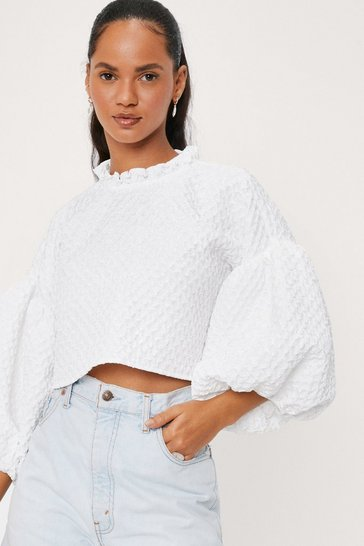 White High Neck Puff Sleeve Textured Blouse