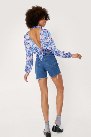 Blue Floral High Neck Open Back Blouse