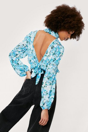 Teal Floral High Neck Open Back Blouse