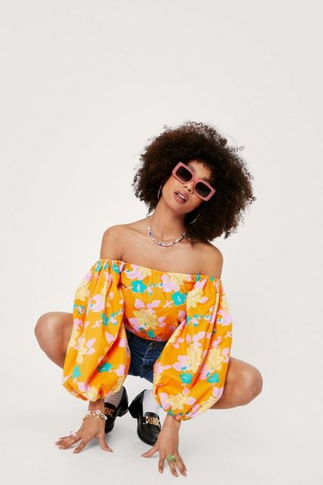 Orange Floral Print Off the Shoulder Cropped Blouse