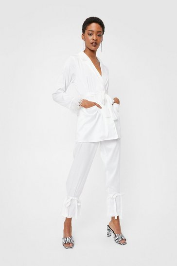 White Satin Feather Trim Belted Jacket and Pants Set