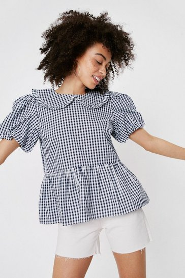 Black Gingham Puff Sleeve Peplum Blouse