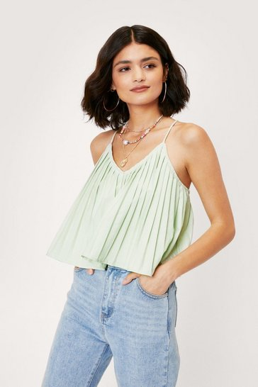 Apple green Pleated V Neck Cami Top