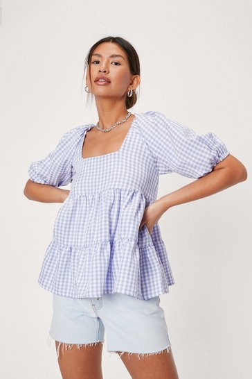 Lilac Puff Sleeve Gingham Print Tiered Blouse