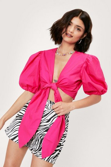 Pink Puff Sleeve Bow Tie Cropped Blouse