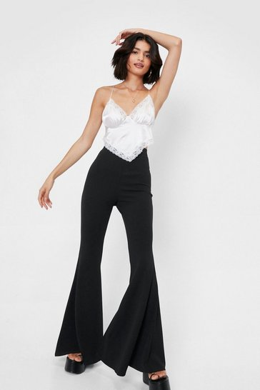 Black High Waisted Oversized Flare Pants