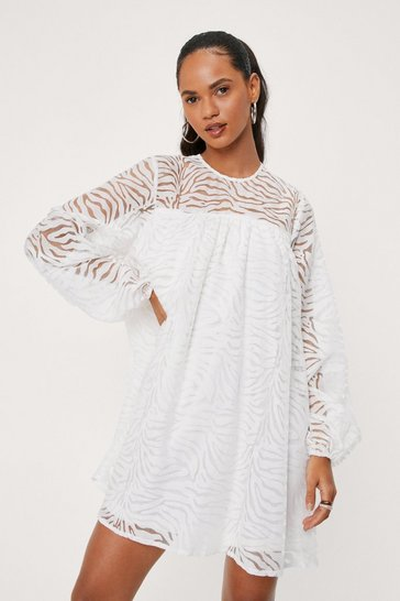 White Zebra Jacquard Long Sleeve Mini Dress