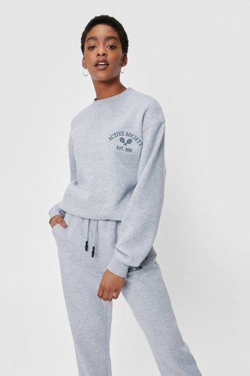 Grey marl Active Society Embroidered Graphic Sweatshirt