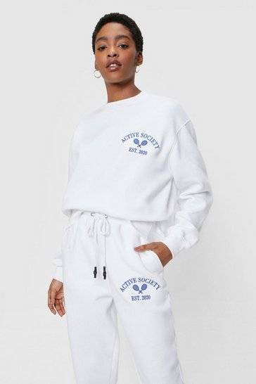 White Active Society Embroidered Graphic Sweatshirt