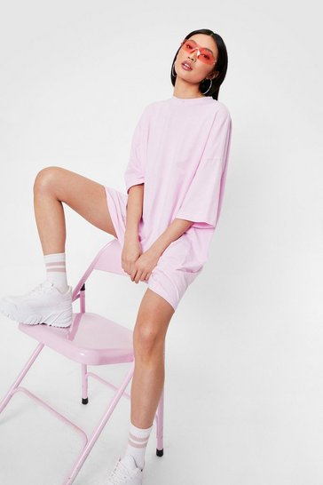 Baby pink Oversized Drop Sleeve T-Shirt Dress