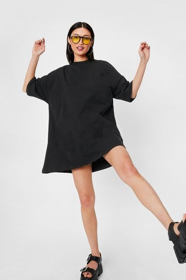 Black Oversized Drop Sleeve T-Shirt Dress