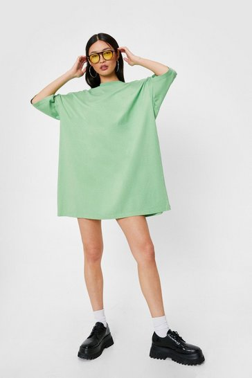Bright green Oversized Drop Sleeve T-Shirt Dress