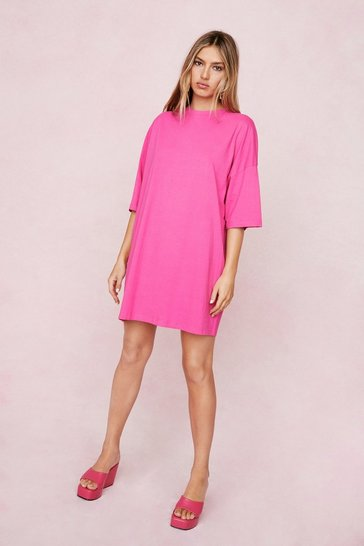 Hot pink Oversized Drop Sleeve T-Shirt Dress