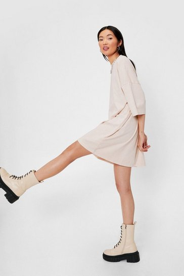 Sand Oversized Drop Sleeve T-Shirt Dress