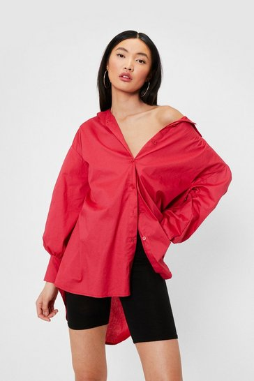 Pink Drop Sleeve Relaxed Button Down Oversized Shirt