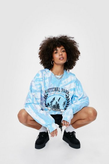 Blue National Park Colorado Tie Dye Graphic Sweatshirt