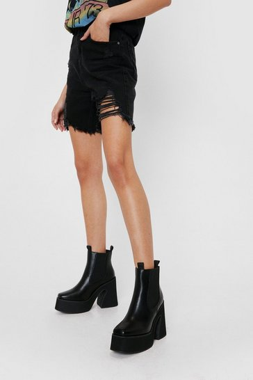 Black Faux Leather Heeled Chelsea Ankle Boots