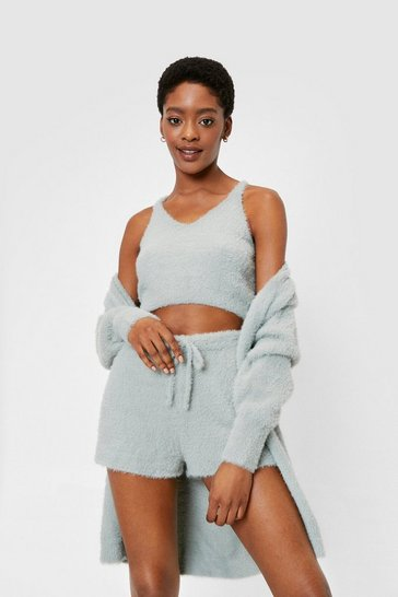 Sage Fluffy Knit Top Cardigan and Shorts Lounge Set