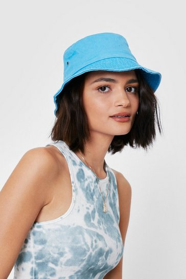Denim-blue Denim Short Brim Bucket Hat