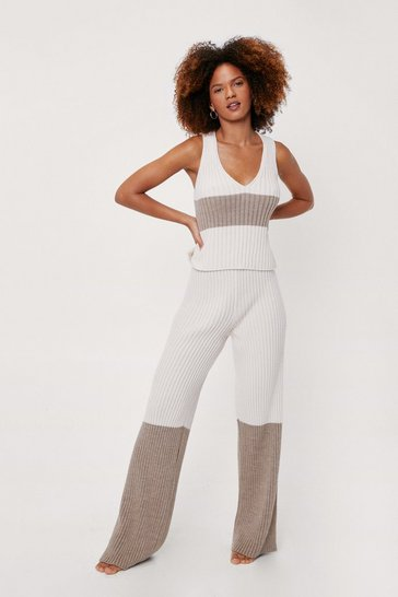 Oatmeal Knit Stripe Tank Top and Wide Leg Lounge Set