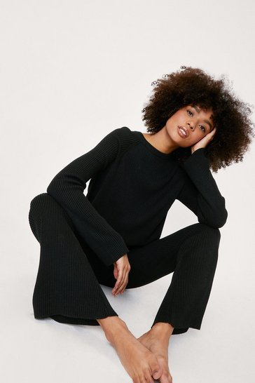 Black Ribbed Knit Jumper and Flares Lounge Set