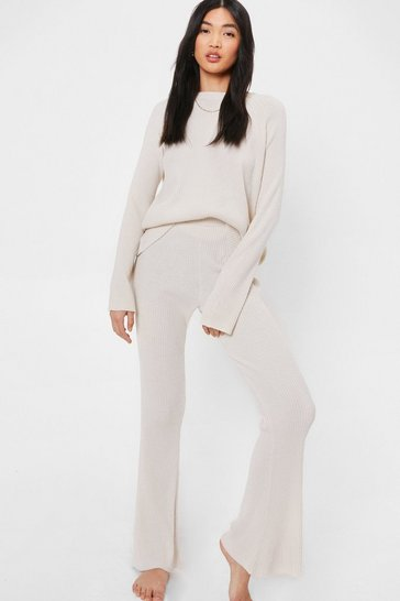 Cream Ribbed Knitted Sweater and Flare Pants Lounge Set