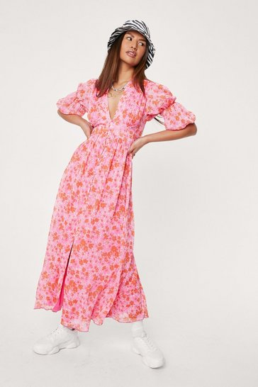 Bright pink Floral V Neck Puff Sleeve Midi Dress