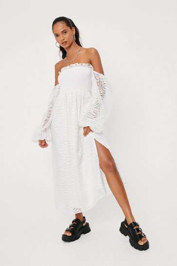 White Ruffle Chiffon Balloon Sleeve Maxi Dress
