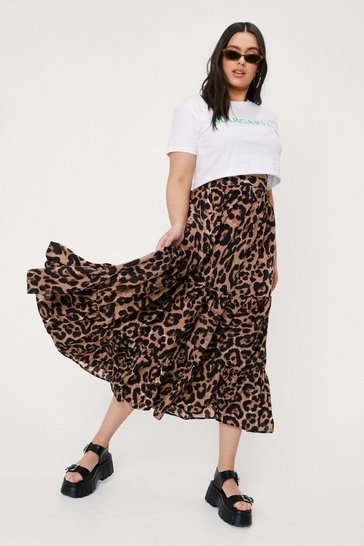 Brown Plus Size Leopard Print Tiered Midi Skirt