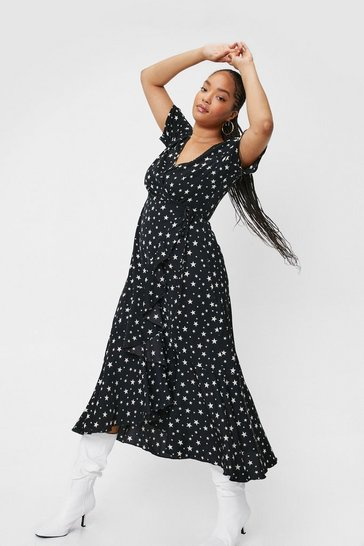 Black Plus Size Star Print Wrap Maxi Dress