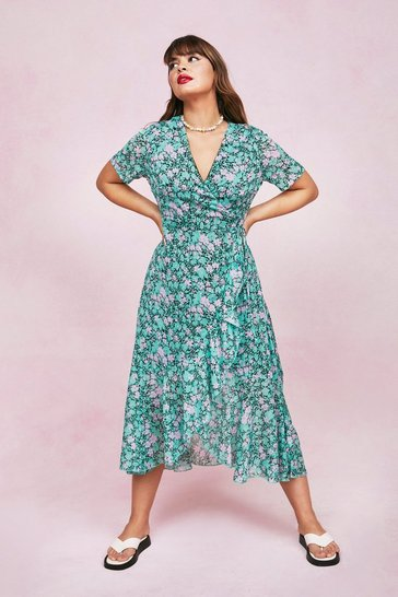 Green Plus Size Floral Wrap Maxi Dress