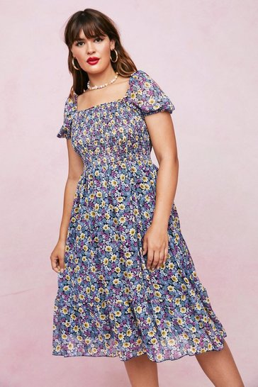 Blue Plus Size Floral Puff Sleeve Shirred Midi Dress