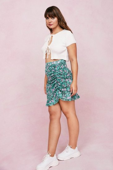 Green Plus Size Floral Ruched Mini Skirt