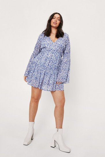 Blue Plus Size Floral V Neck Smock Mini Dress