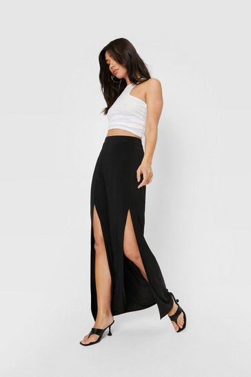 Black High Waisted Split Front Relaxed Maxi Skirt
