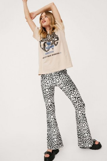 Mono High Waisted Leopard Flares