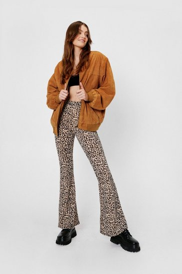 Light beige High Waisted Leopard Print Flare Pants