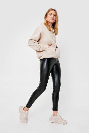 Black High Waisted Faux Leather Side Zip Leggings