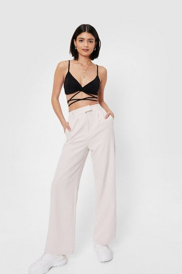 Beige High Waisted Tailored Wide Leg Pants