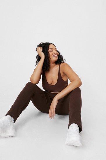 Chocolate Plus Size Ribbed High Waisted Split Hem Leggings