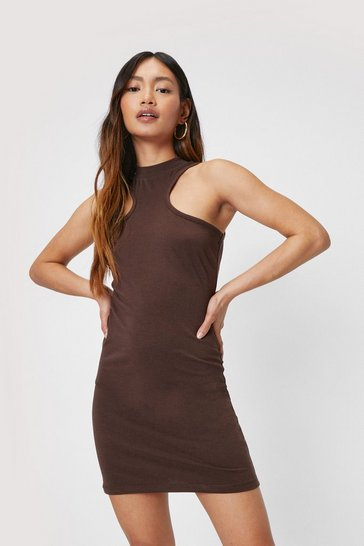 Chocolate Petite Racer Ribbed Fitted Mini Dress