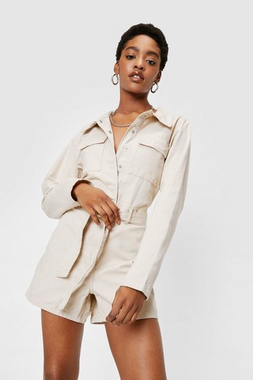 Ecru Long Sleeve Utility Belted Denim Romper